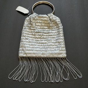 Silver sequins & beads hand-held evening bag